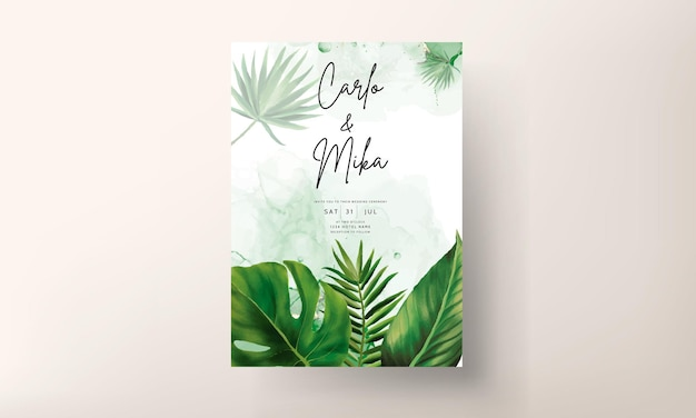 手描きの緑の葉の結婚式の招待状のテンプレート