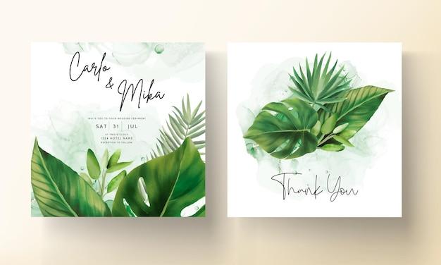 Modello dell'invito di nozze delle foglie verdi disegnato a mano