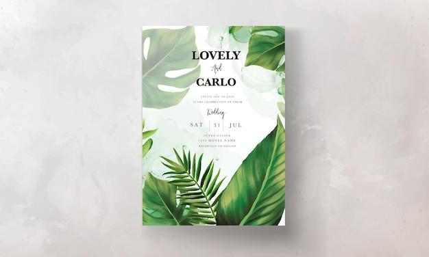 손으로 그린 녹색 잎 청첩장 템플릿