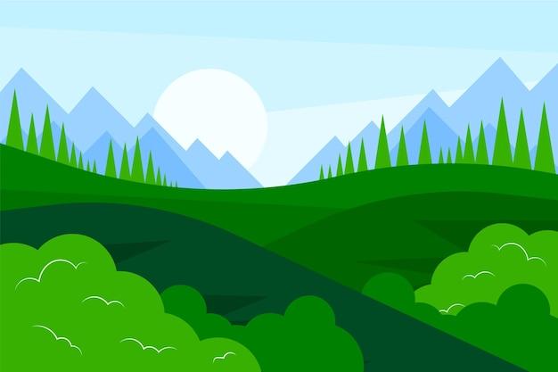 Hand drawn green meadow landscape