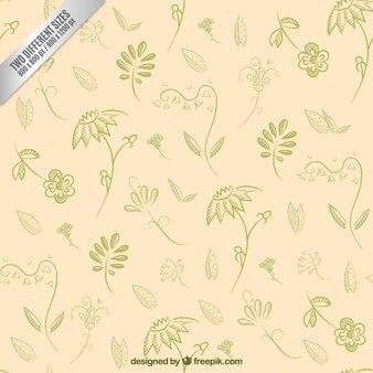 Hand drawn green plants background