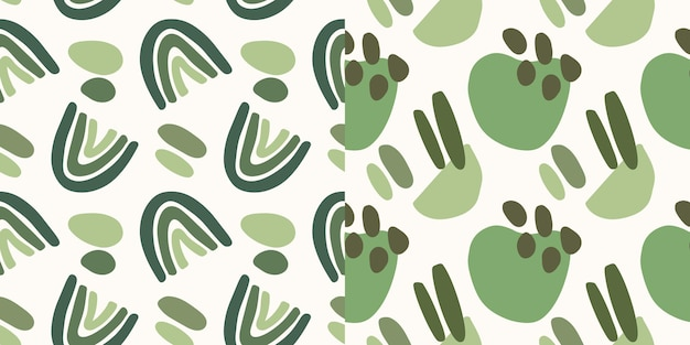 Hand drawn green shape seamless pattern collection