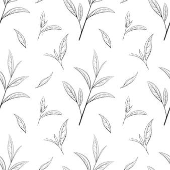 Ручной обращается зеленый чай шаблон. векторные иллюстрации, бесшовные черные элементы на белом фоне