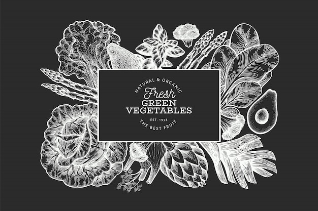 Hand drawn green vegetables banner template.
