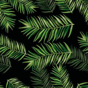 手描きの緑の水彩画の葉のシームレスなパターンデザイン