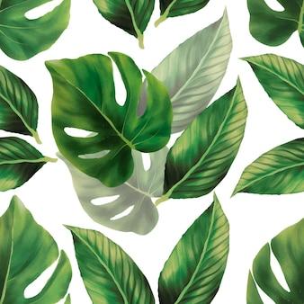 L'acquerello verde disegnato a mano lascia il disegno senza cuciture del modello