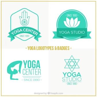 Disegnati a mano loghi centro verde yoga