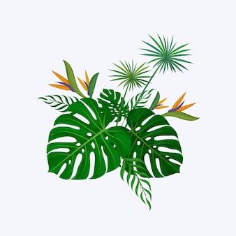 モンステラの葉、ストレチアの花、パピルス植物で構成される手描きの緑の装飾的な花束