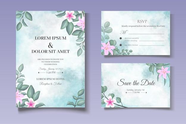 Ручной обращается зелень цветочные свадебные приглашения
