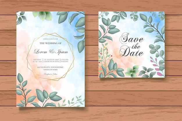 Hand drawn greenery foral wedding invitation card