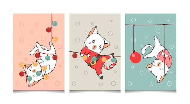 Hand drawn greeting card kawaii cat in christmas
