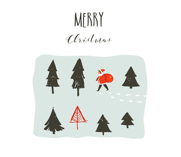 Hand drawn greeting card, merry christmas theme.
