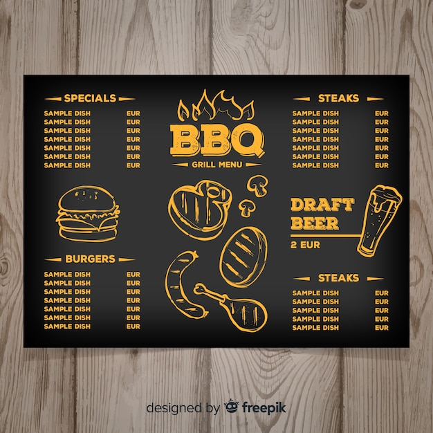 Free Hand drawn grill restaurant menu template SVG DXF EPS PNG