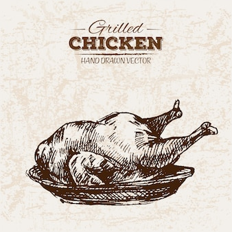Hand drawn grilled fried chicken meat