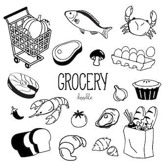 Hand drawn grocery doodles set