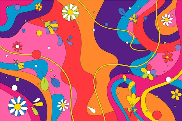 Hand drawn groovy background with flowers