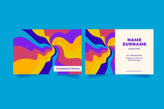 Hand drawn groovy business cards