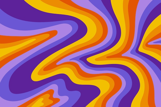 Hand drawn groovy colorful background