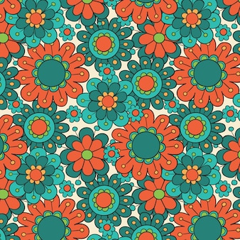 Hand drawn groovy floral pattern