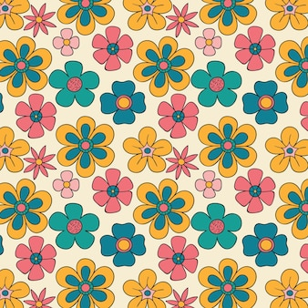 손으로 그린 된 그루비 플로랄 패턴