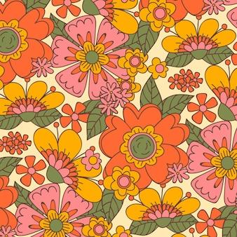 手描きのグルーヴィーな花柄