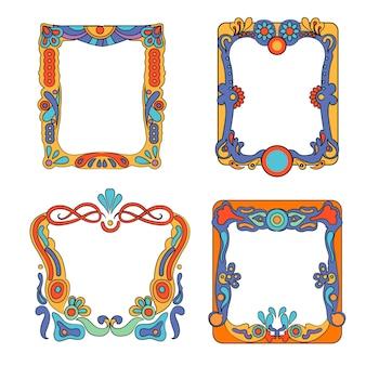 Hand drawn groovy frames