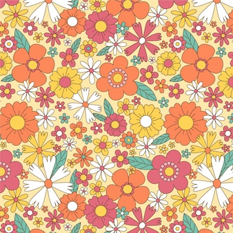 Hand drawn groovy pattern with flowers
