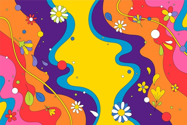 Hand drawn groovy psychedelic background