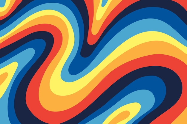 Hand drawn groovy psychedelic colorful background