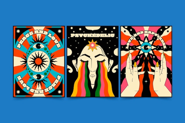 Hand drawn groovy psychedelic cover pack