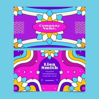 Hand drawn groovy psychedelic horizontal business card template