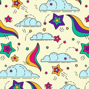 손으로 그린 그루비 환각 패턴 디자인