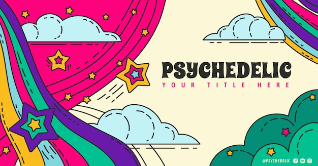 Modello di post social media psichedelico groovy disegnato a mano