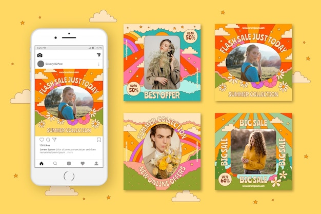 손으로 그린 그루비 판매 Instagram 게시물 컬렉션 프리미엄 벡터