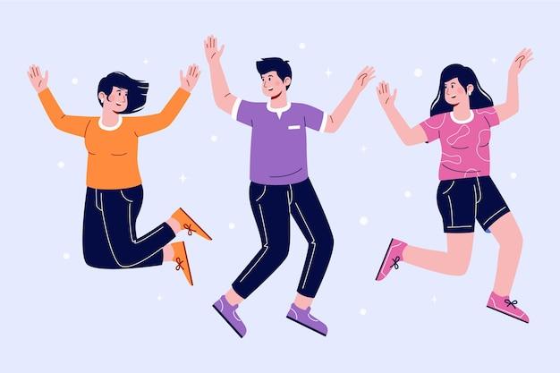 ジャンプする人々の手描きのグループ