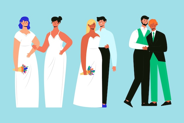 Hand drawn group of wedding couples