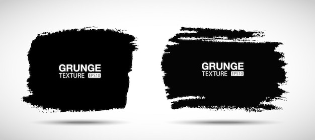 Hand drawn grunge background set brush stroke sale banners distress texture blank shapes vector