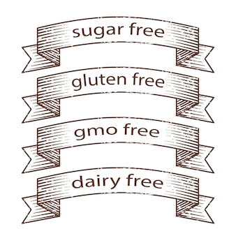 Hand drawn grunge ribbons - gluten free, sugar free, dairy free