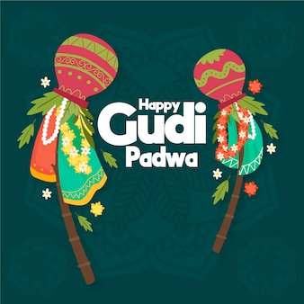 Hand-drawn gudi padwa celebration