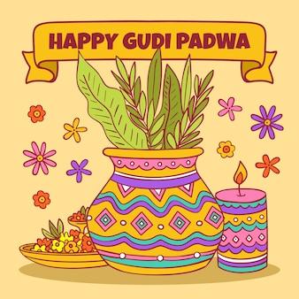 Нарисованная рукой концепция gudi padwa