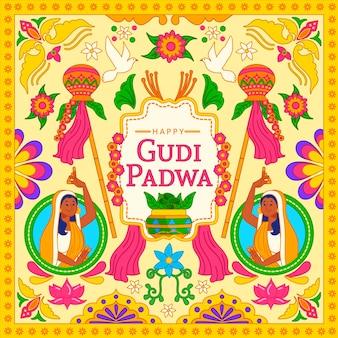 Hand drawn gudi padwa concept