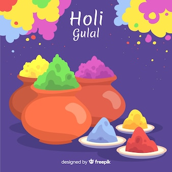 Hand drawn gulal holi fesival background