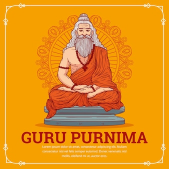 Hand drawn guru purnima illustration