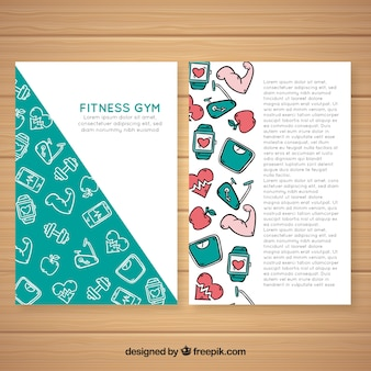 Hand drawn gym flyer template