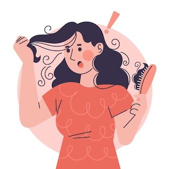 Нарисованная рукой концепция потери волос