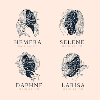 Hand-drawn hair salon logo collection