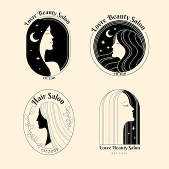 Hand drawn hair salon logo collection