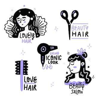 Hand drawn hair salon logo collection