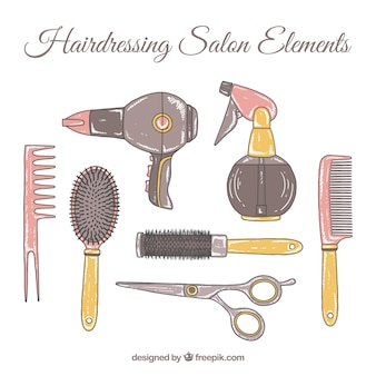 Hand drawn hairdressing salon accessory collection