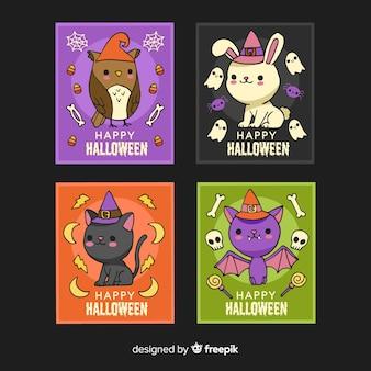 Hand drawn halloween animal card collection